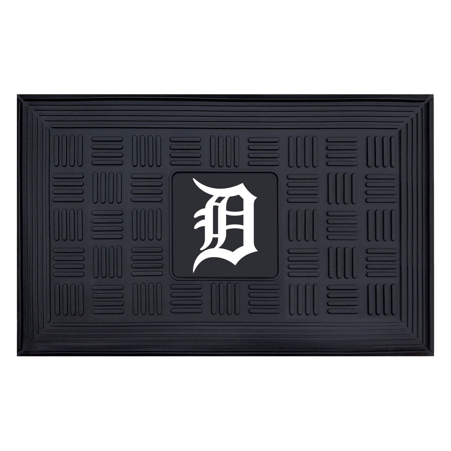 FANMATS Black with Official Team Logos and Colors Detroit Tigers Rectangular Door Mat (Common: 19-in x 30-in; Actual: 19-in x 30-in)