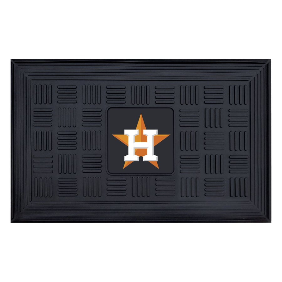 FANMATS Black with Official Team Logos and Colors Houston Astros Rectangular Door Mat (Common: 19-in x 30-in; Actual: 19-in x 30-in)