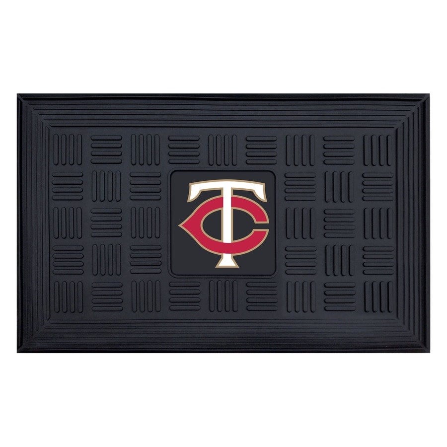 FANMATS Black with Official Team Logos and Colors Minnesota Twins Rectangular Door Mat (Common: 19-in x 30-in; Actual: 19-in x 30-in)