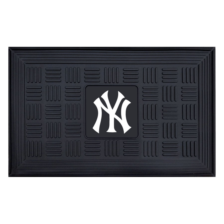 FANMATS Black with Official Team Logos and Colors New York Yankees Rectangular Door Mat (Common: 19-in x 30-in; Actual: 19-in x 30-in)