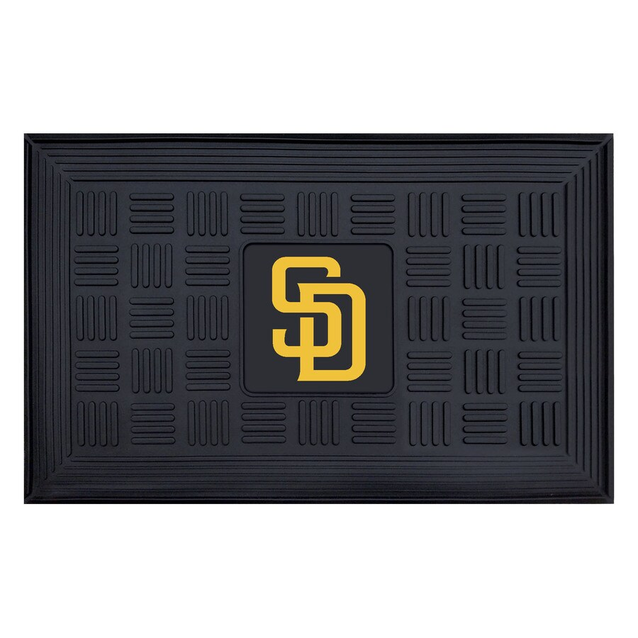 FANMATS Black with Official Team Logos and Colors San Diego Padres Rectangular Door Mat (Common: 19-in x 30-in; Actual: 19-in x 30-in)