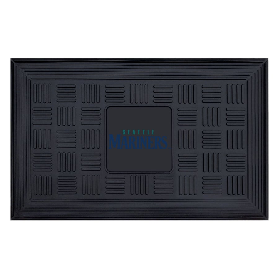 FANMATS Black with Official Team Logos and Colors Seattle Mariners Rectangular Door Mat (Common: 19-in x 30-in; Actual: 19-in x 30-in)