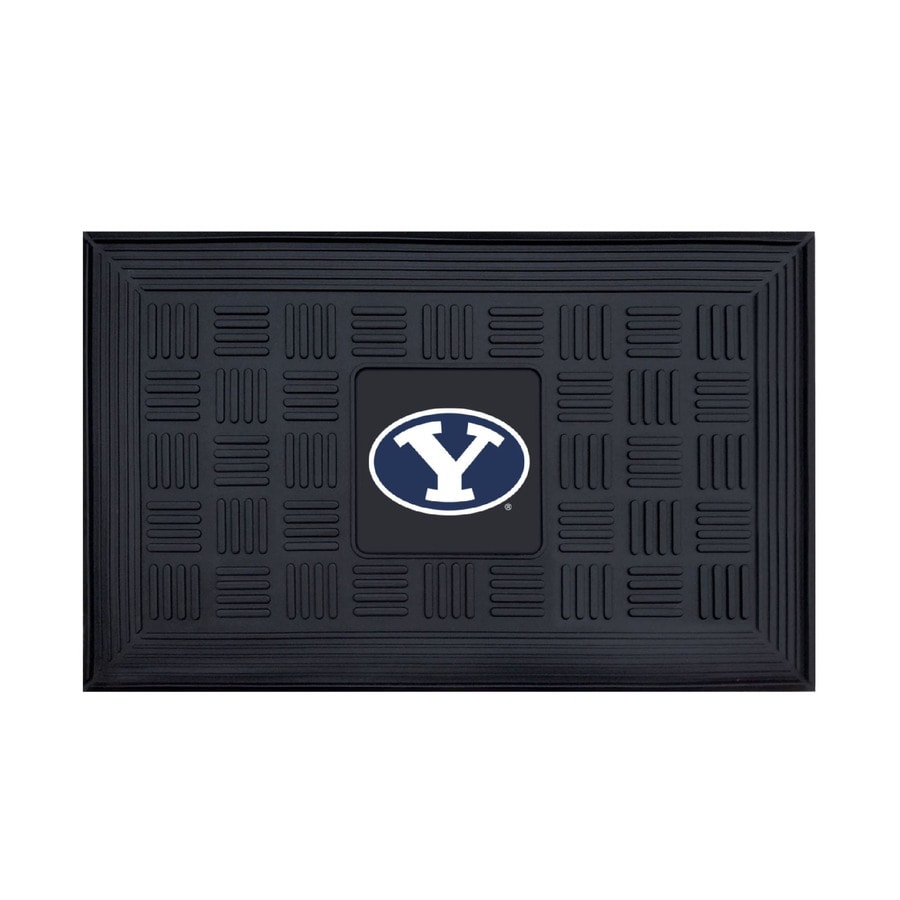 FANMATS Black with Official Team Logos and Colors Brigham Young University Rectangular Door Mat (Common: 19-in x 30-in; Actual: 19-in x 30-in)