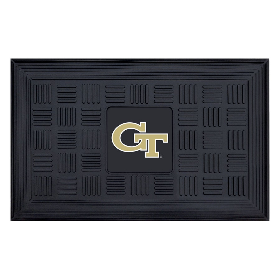 FANMATS Black with Official Team Logos and Colors Georgia Tech Rectangular Door Mat (Common: 19-in x 30-in; Actual: 19-in x 30-in)