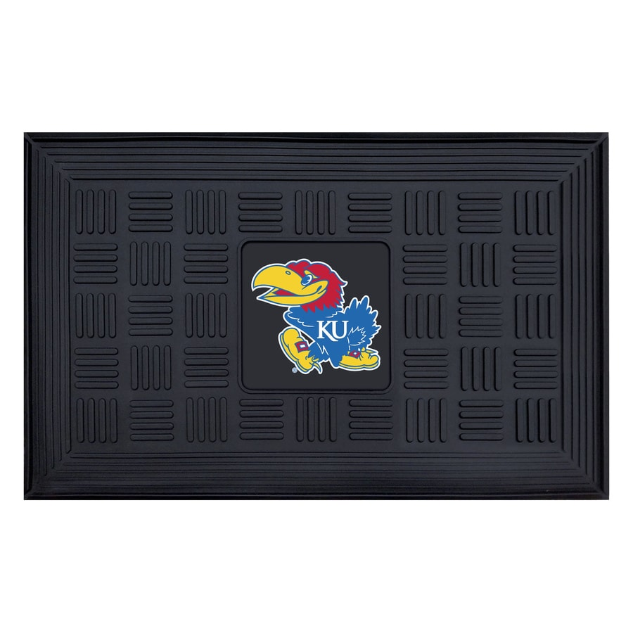 FANMATS Black with Official Team Logos and Colors University Of Kansas Rectangular Door Mat (Common: 19-in x 30-in; Actual: 19-in x 30-in)