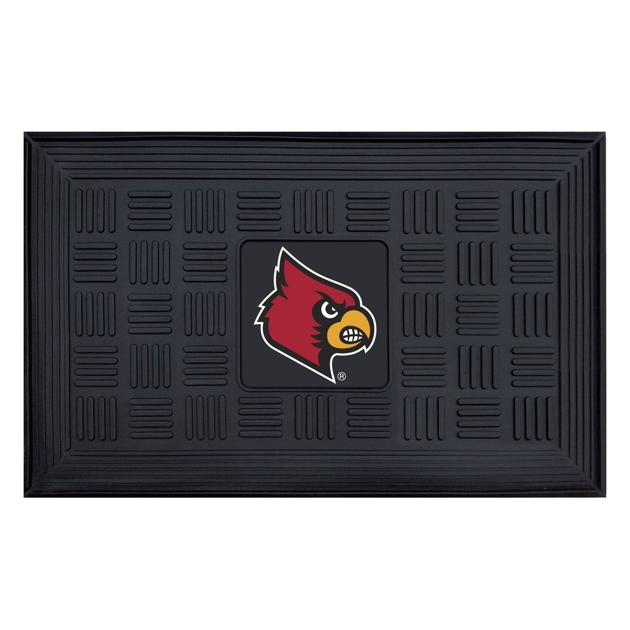 FANMATS Black with Official Team Logos and Colors University Of Louisville Rectangular Door Mat (Common: 19-in x 30-in; Actual: 19-in x 30-in)