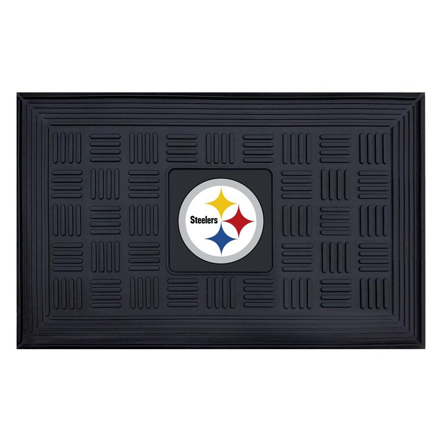 FANMATS Black Pittsburgh Steelers Rectangular Door Mat (Common: 19-in x 30-in; Actual: 19-in x 30-in)