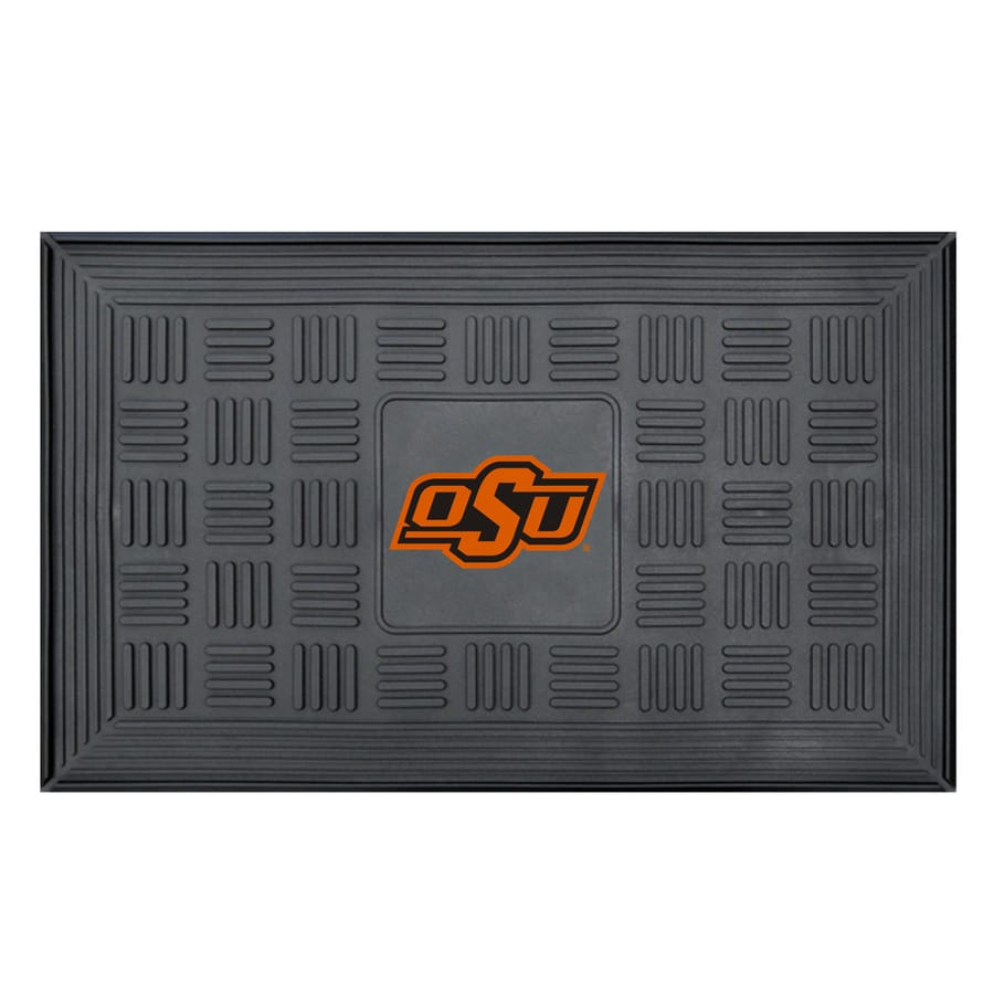 FANMATS Black with Official Team Logos and Colors Oklahoma State University Rectangular Door Mat (Common: 19-in x 30-in; Actual: 19-in x 30-in)
