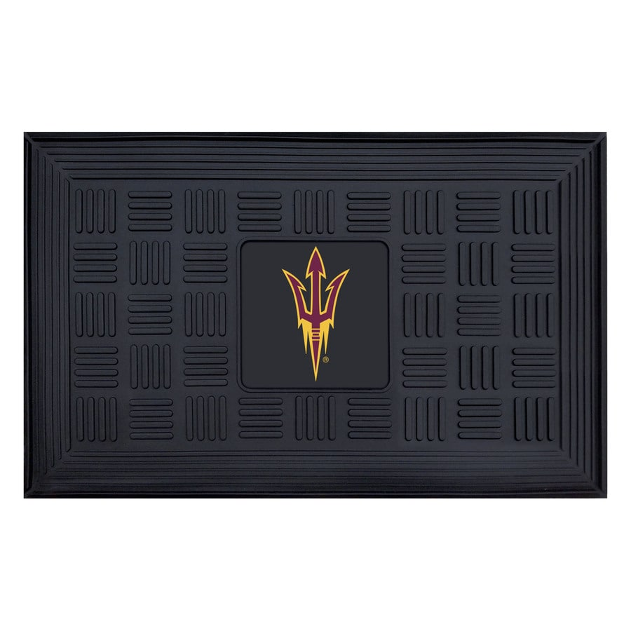 FANMATS Black with Official Team Logos and Colors Arizona State University Rectangular Door Mat (Common: 19-in x 30-in; Actual: 19-in x 30-in)