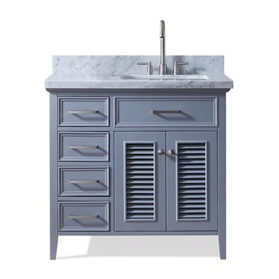 ARIEL Kensington 37 In Gray Single Sink Bathroom Vanity With