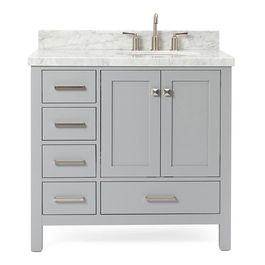 ariel cambridge 37-in gray single sink bathroom vanity