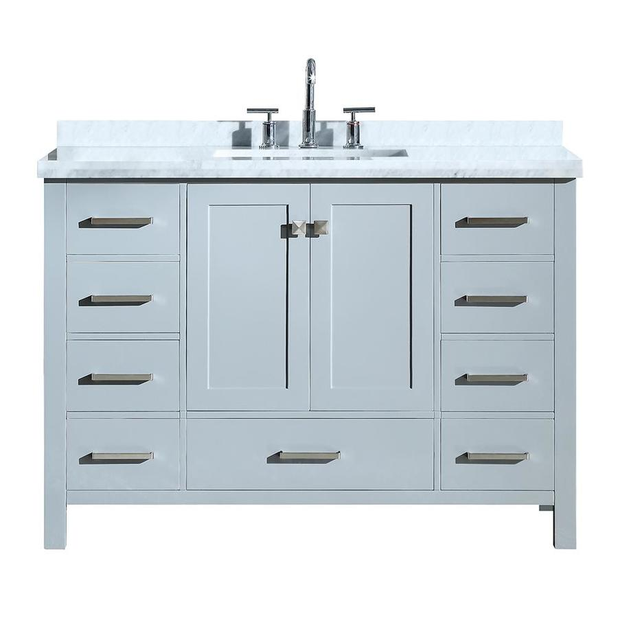 Ariel Cambridge 49 In Grey Single Sink Bathroom Vanity With White Natural Marble Top At