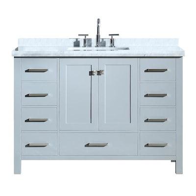 Ariel Cambridge 49 In Grey Undermount Single Sink Bathroom Vanity With White Natural Marble Top In The Bathroom Vanities With Tops Department At Lowes Com