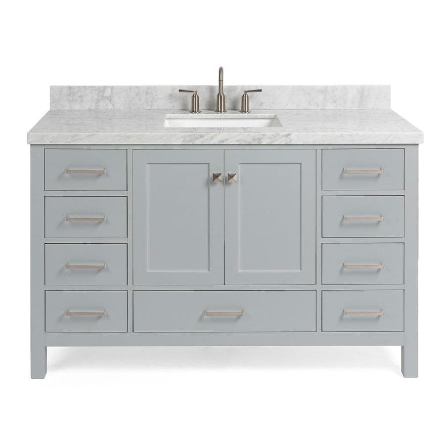 Ariel Cambridge 55 In Grey Undermount Single Sink Bathroom Vanity With White Natural Marble Top In The Bathroom Vanities With Tops Department At Lowes Com