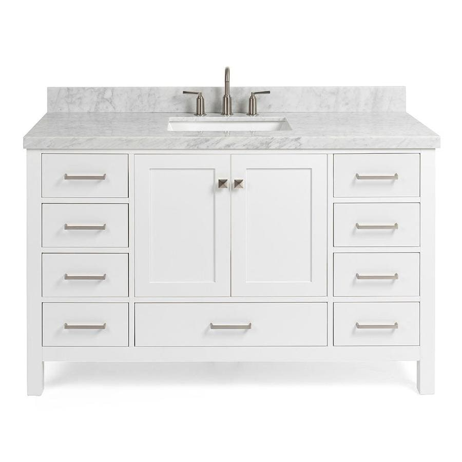 Ariel Cambridge 55 In White Undermount Single Sink Bathroom Vanity With White Natural Marble Top In The Bathroom Vanities With Tops Department At Lowes Com