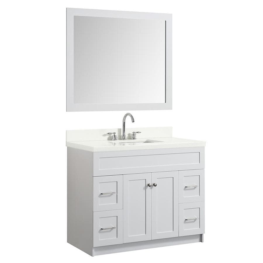 Ariel Hamlet 43 In White Single Sink Bathroom Vanity With White Quartz Top Mirror Included In The Bathroom Vanities With Tops Department At Lowes Com