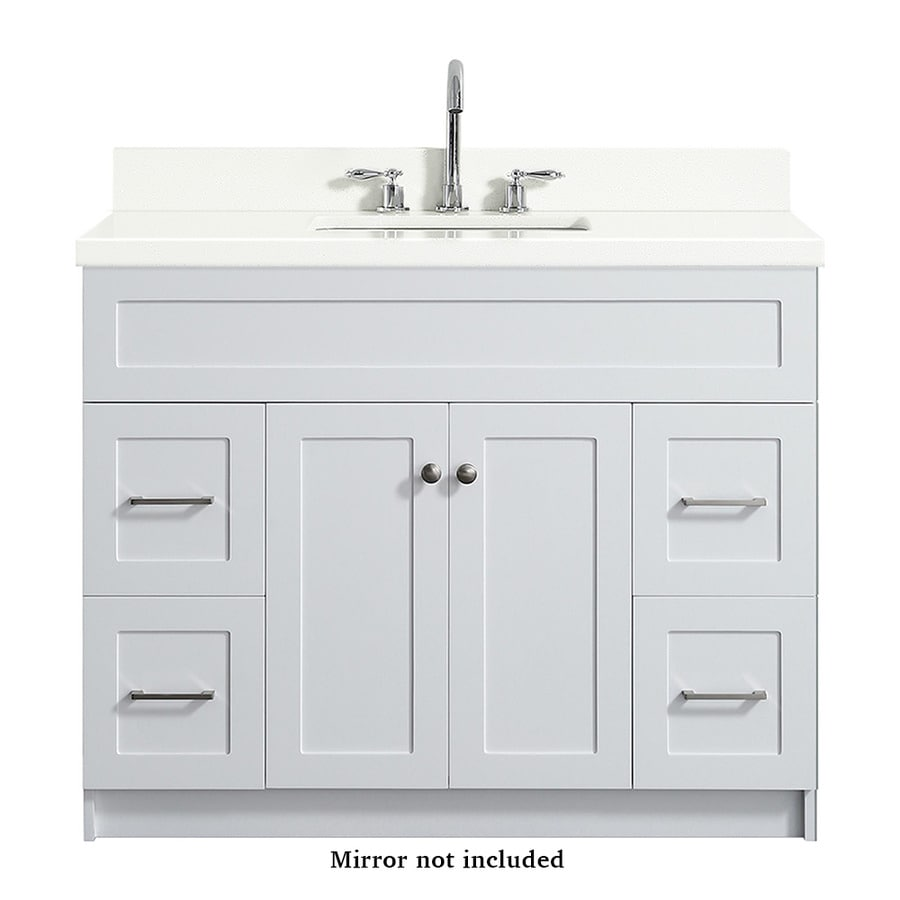 Ariel Hamlet 43 In White Undermount Single Sink Bathroom Vanity With White Quartz Top In The Bathroom Vanities With Tops Department At Lowes Com