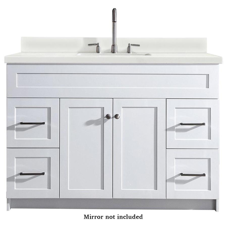 Ariel Hamlet 49 In White Single Sink Bathroom Vanity With White