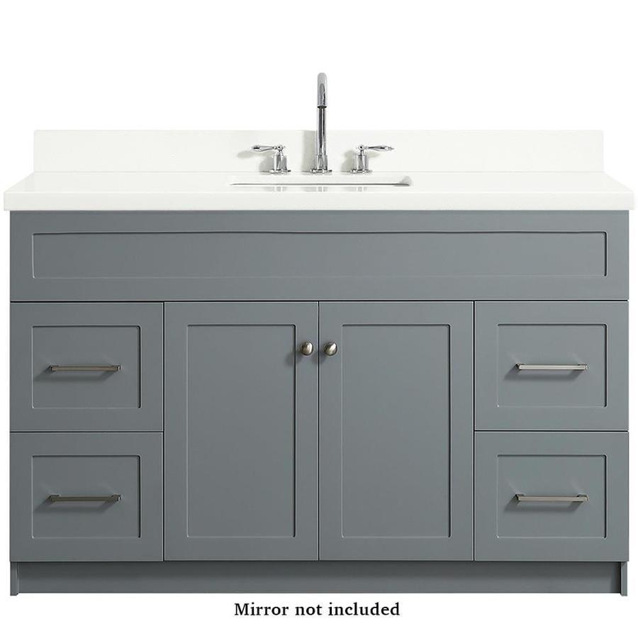 Ariel Hamlet 55 In Gray Undermount Single Sink Bathroom Vanity With White Quartz Top In The Bathroom Vanities With Tops Department At Lowes Com