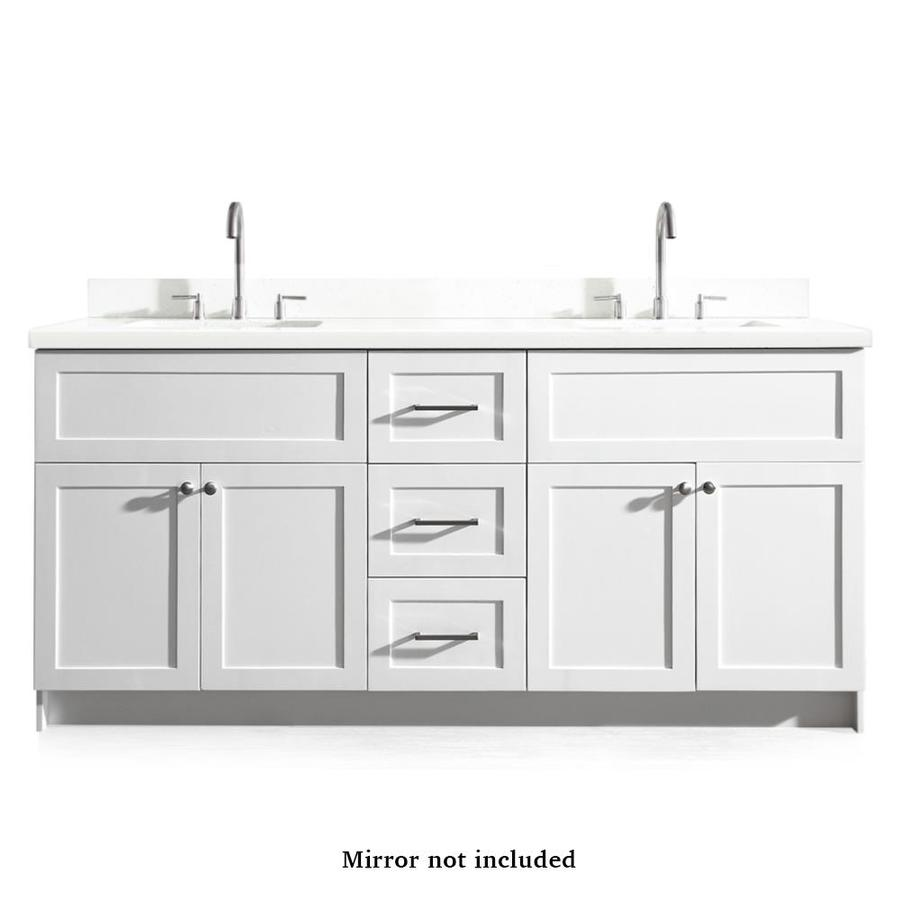 ARIEL Hamlet 73-in White Double Sink Bathroom Vanity with ...