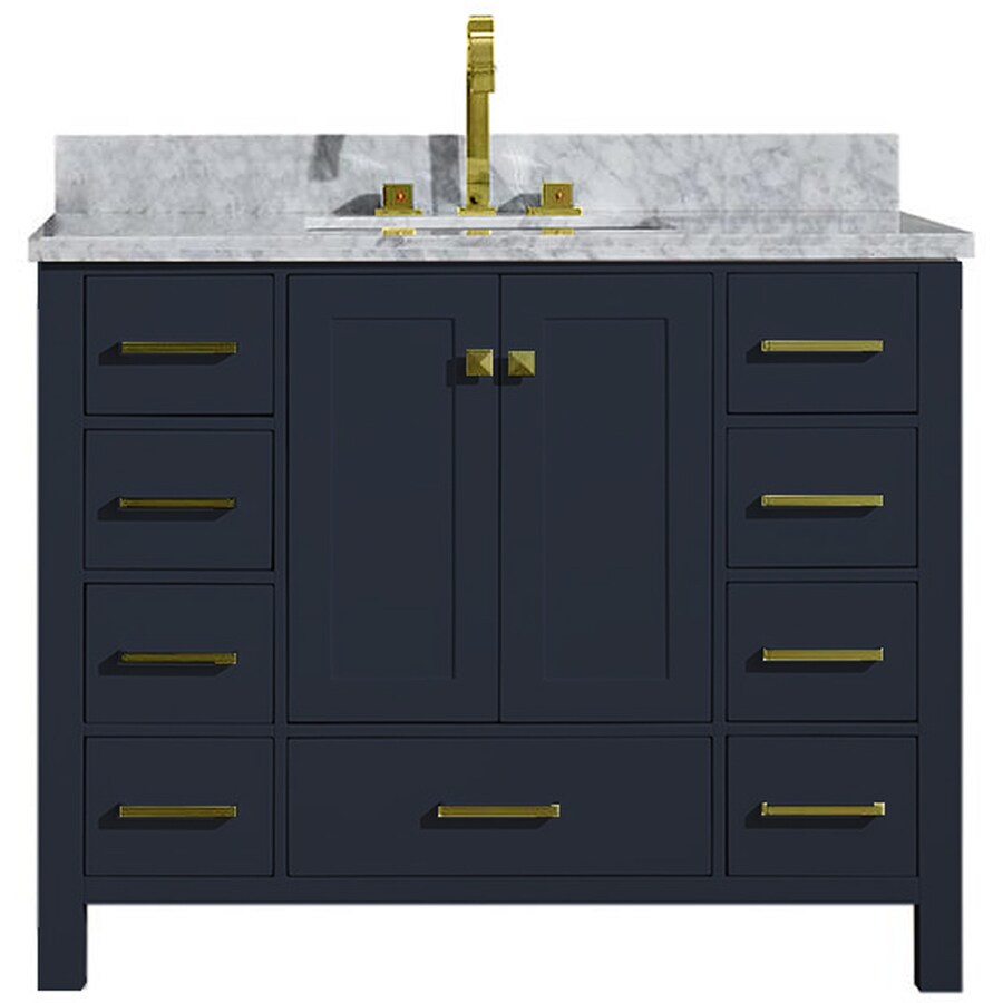 ARIEL Cambridge 43-in Midnight Blue Single Sink Bathroom ...