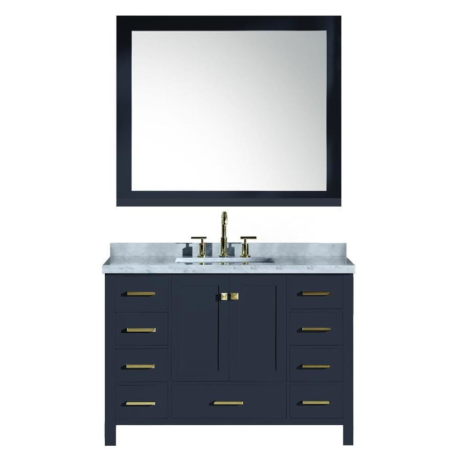 Ariel cambridge midnight blue 73 0 undermount double sink bathroom vanity with natural marble for Midnight blue bathroom vanity