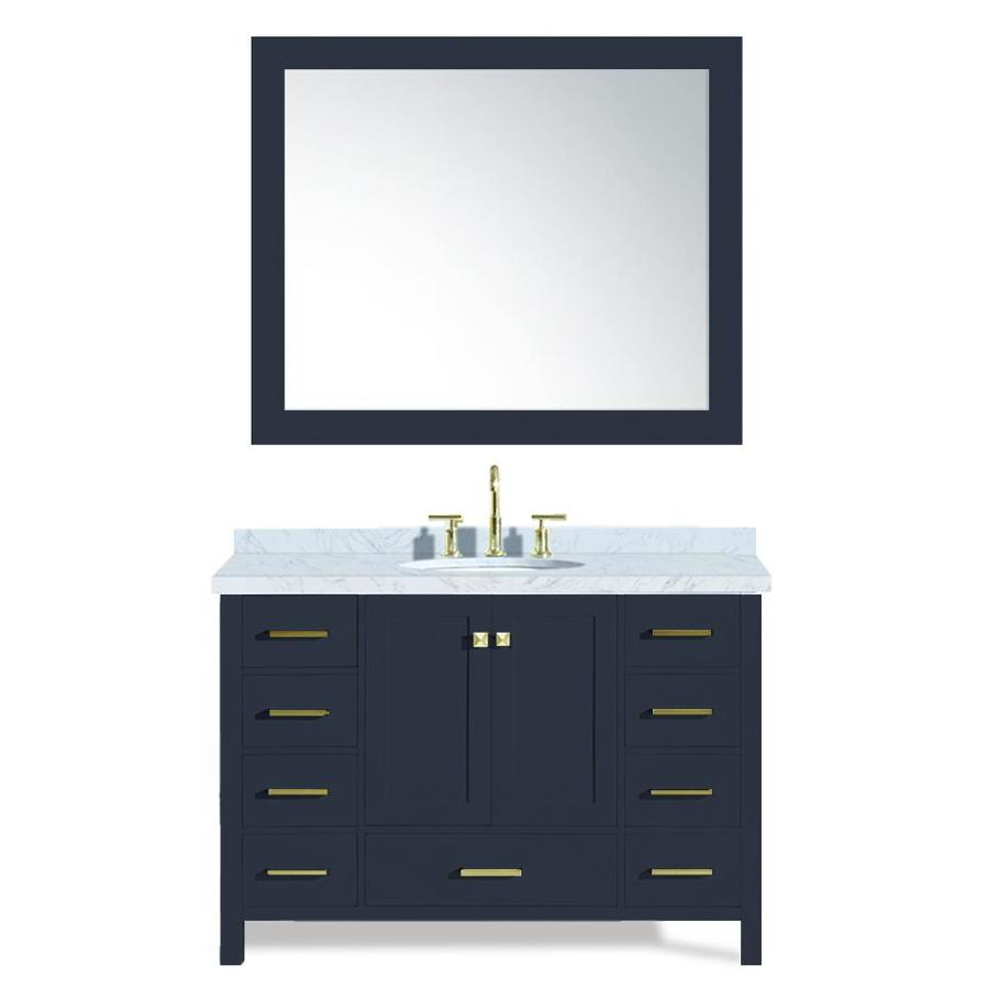 Ariel Cambridge 73 In Midnight Blue Double Sink Bathroom Vanity With