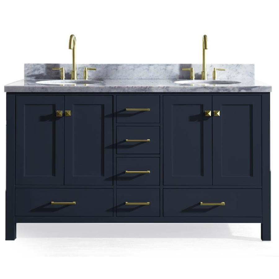 Ariel Cambridge 61 In Midnight Blue Double Sink Bathroom Vanity With White Natural Marble Top At Lowes Com