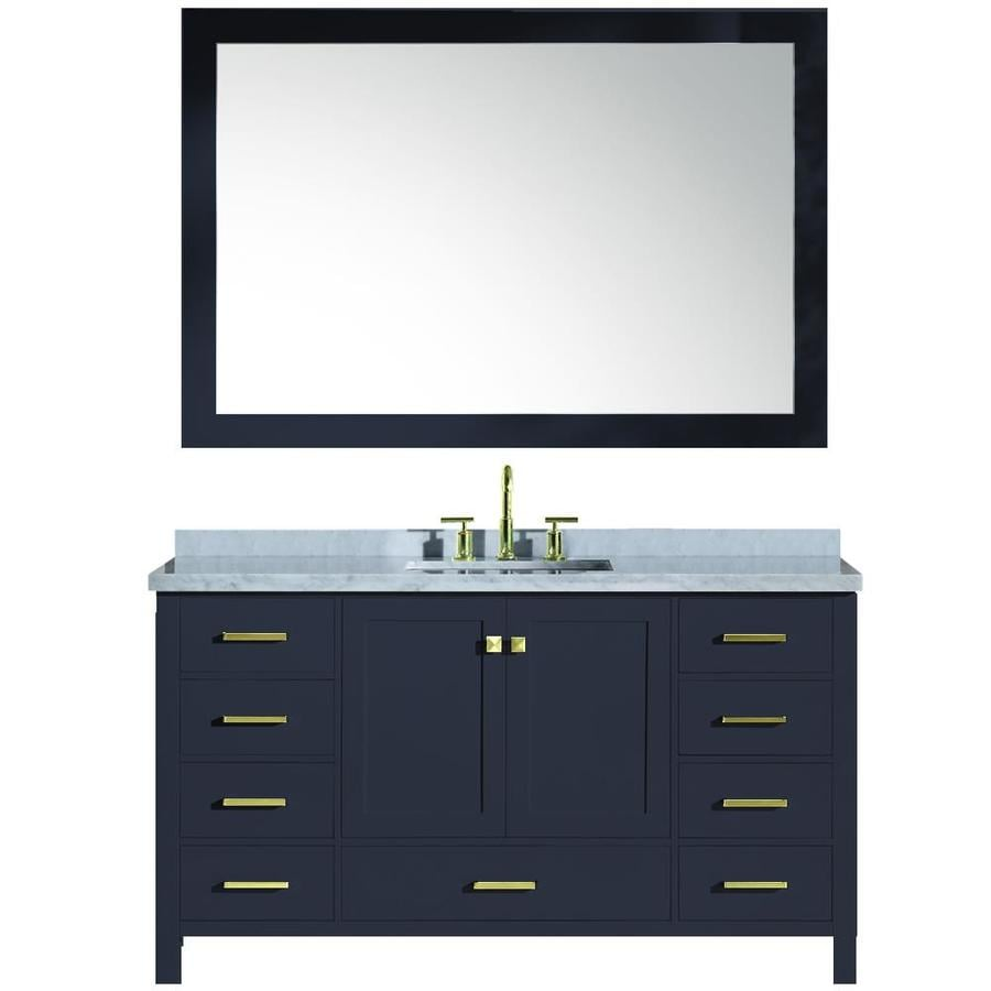 Ariel cambridge midnight blue 61 0 undermount single sink bathroom vanity with natural marble for Midnight blue bathroom vanity