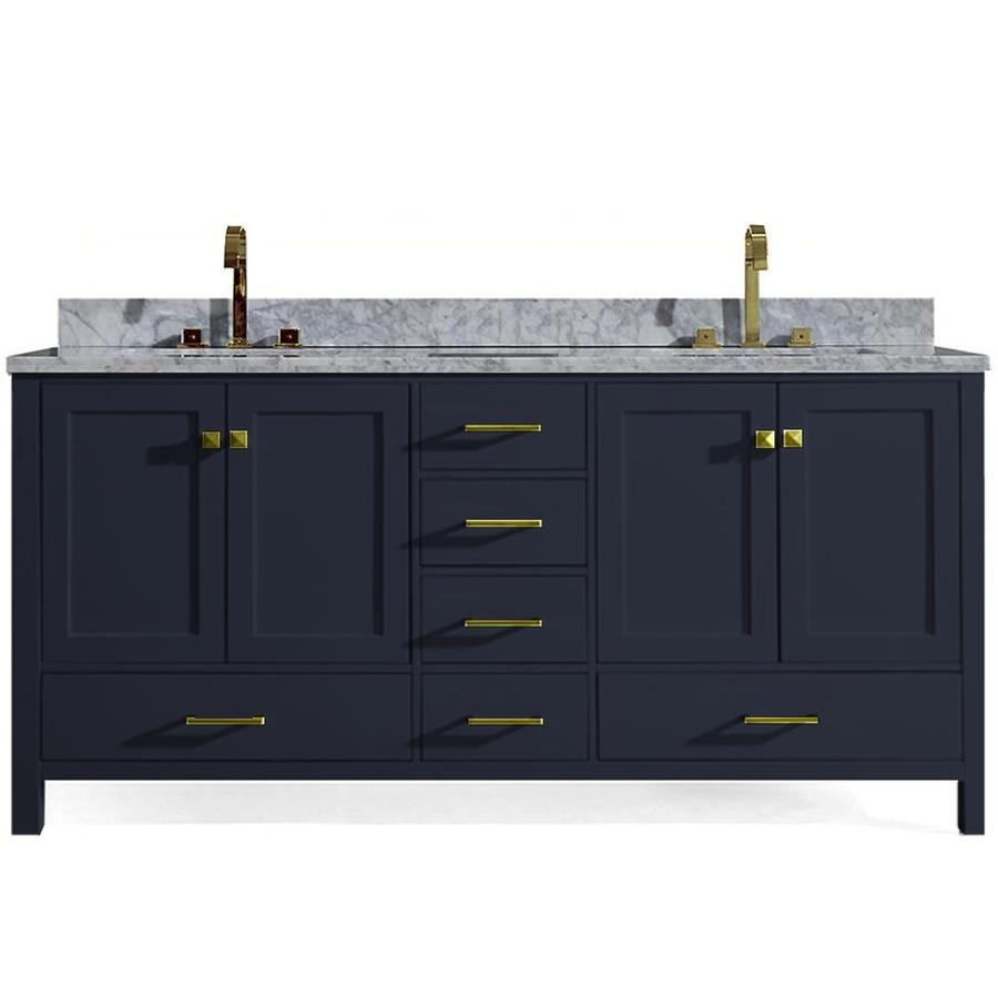 Ariel Cambridge 73 In Midnight Blue Double Sink Bathroom