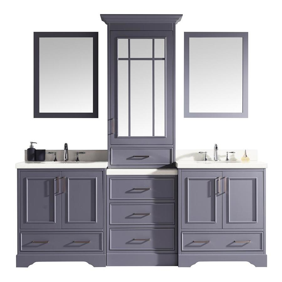 Ariel Stafford 85 In Grey Double Sink Bathroom Vanity With White Quartz Top Mirror Included In The Bathroom Vanities With Tops Department At Lowes Com