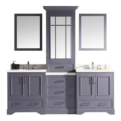 the latest 30d84 67369 Stafford 85-in Grey Double Sink Bathroom Vanity with White Quartz Top and  Mirror