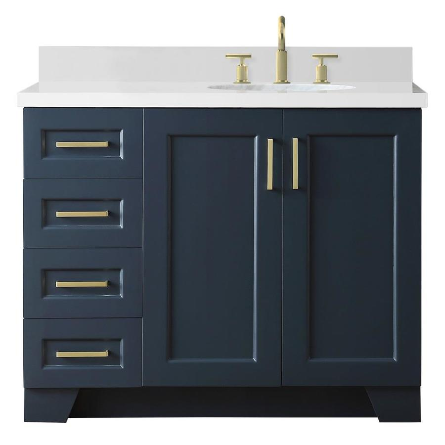 Ariel Taylor 43 In Midnight Blue Undermount Single Sink Bathroom Vanity With White Quartz Top In The Bathroom Vanities With Tops Department At Lowes Com