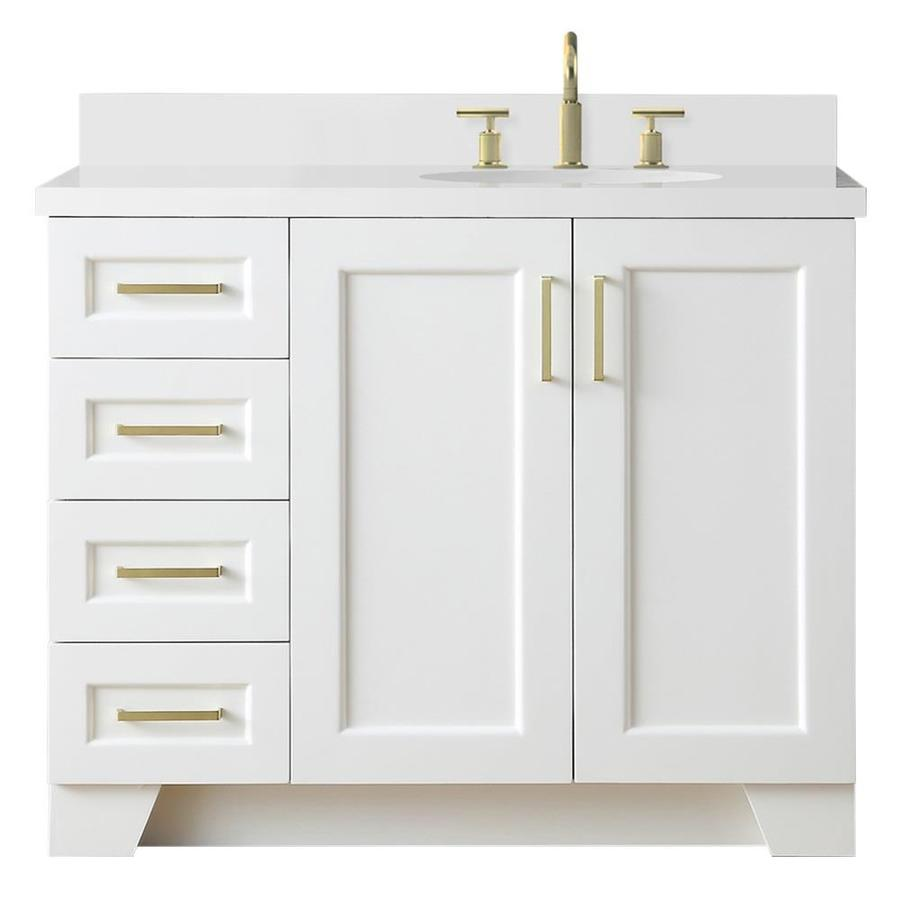 Ariel Taylor 43 In White Undermount Single Sink Bathroom Vanity With White Quartz Top In The Bathroom Vanities With Tops Department At Lowes Com