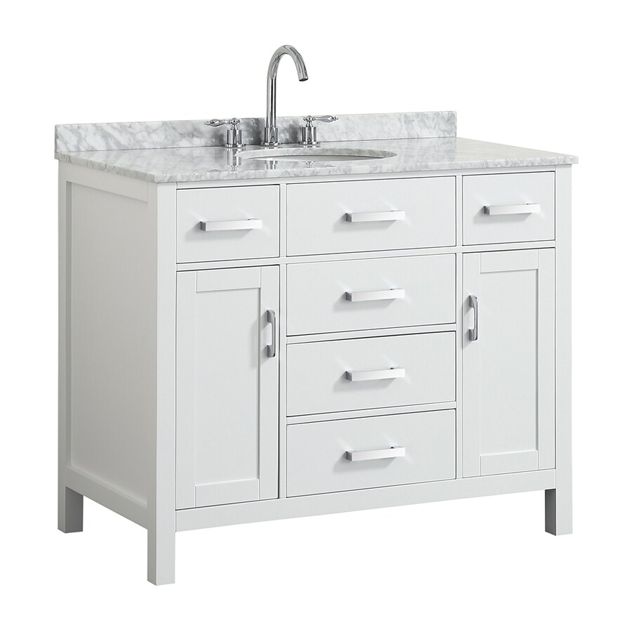 Beaumont Decor Hampton 43 In White Undermount Single Sink Bathroom Vanity With White Natural Marble Top In The Bathroom Vanities With Tops Department At Lowes Com