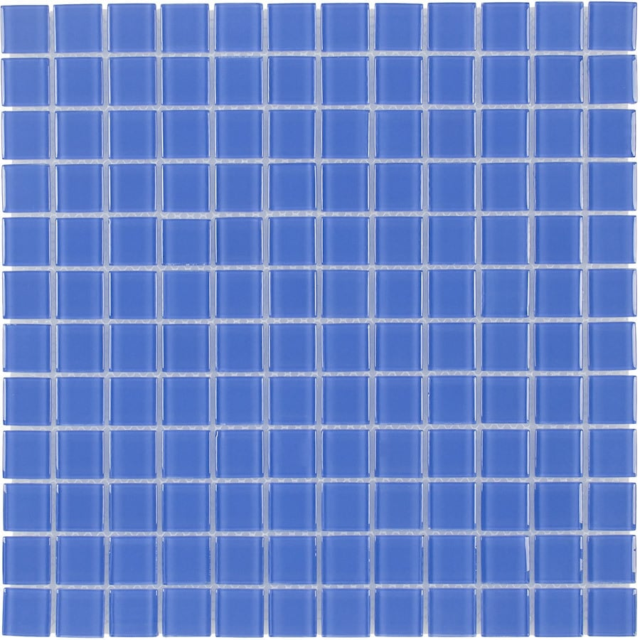 Elida Ceramica Indigo Blue Uniform Squares Mosaic Glass Wall Tile (Common: 12-in x 12-in; Actual: 11.75-in x 11.75-in)