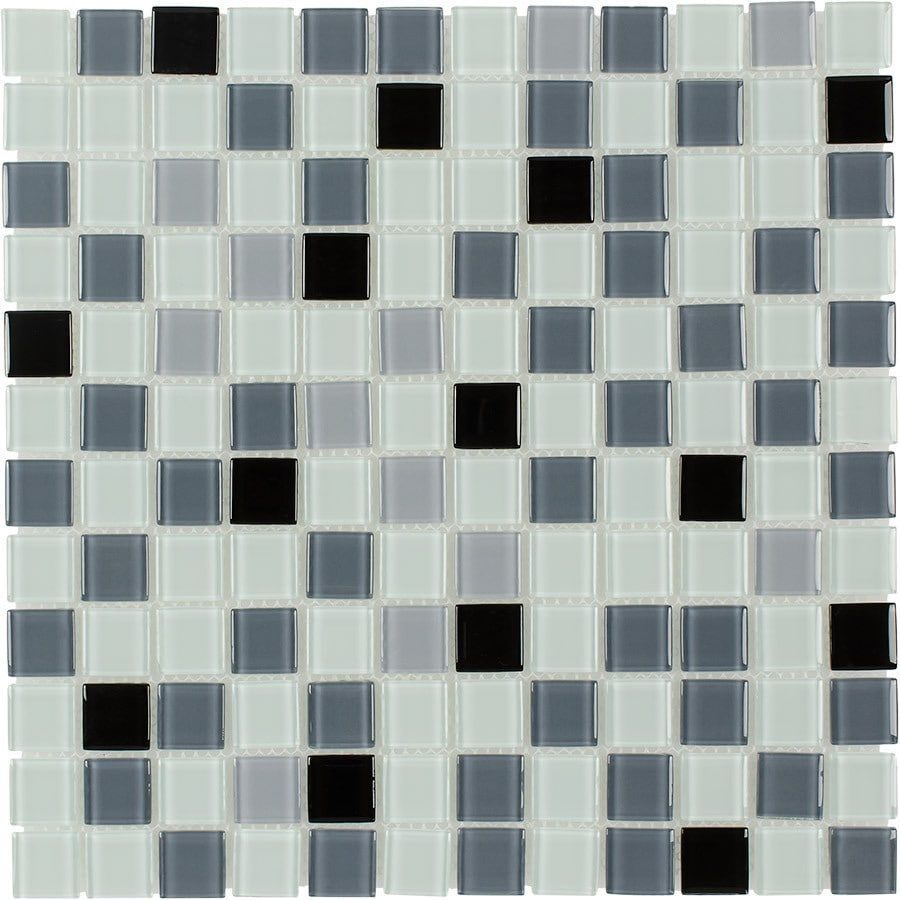 Elida Ceramica Silver Multicolor Uniform Squares Mosaic Glass Wall Tile (Common: 12-in x 12-in; Actual: 11.75-in x 11.75-in)