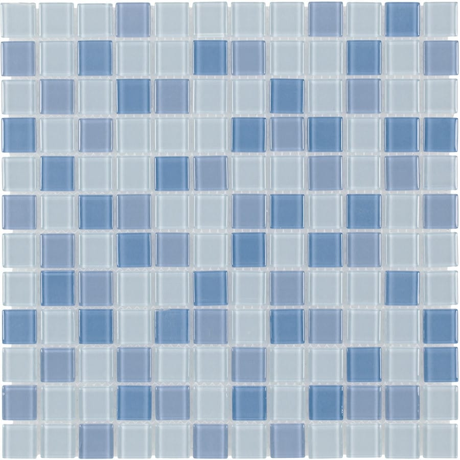 Elida Ceramica Baby Blue Multicolor Uniform Squares Mosaic Glass Wall Tile (Common: 12-in x 12-in; Actual: 11.75-in x 11.75-in)