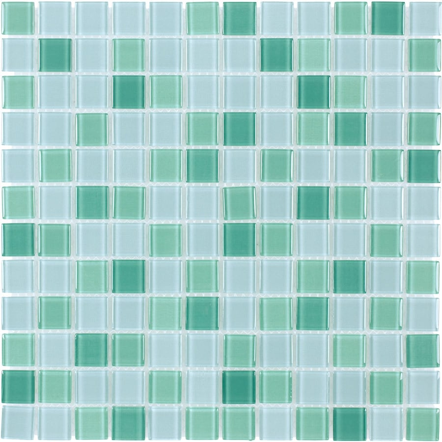 Elida Ceramica Jade Multicolor Uniform Squares Mosaic Glass Wall Tile (Common: 12-in x 12-in; Actual: 11.75-in x 11.75-in)