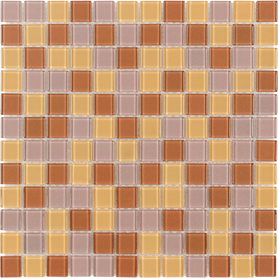 Elida Ceramica Gold/Bronze Multicolor Uniform Squares Mosaic Glass Wall Tile (Common: 12-in x 12-in; Actual: 11.75-in x 11.75-in)
