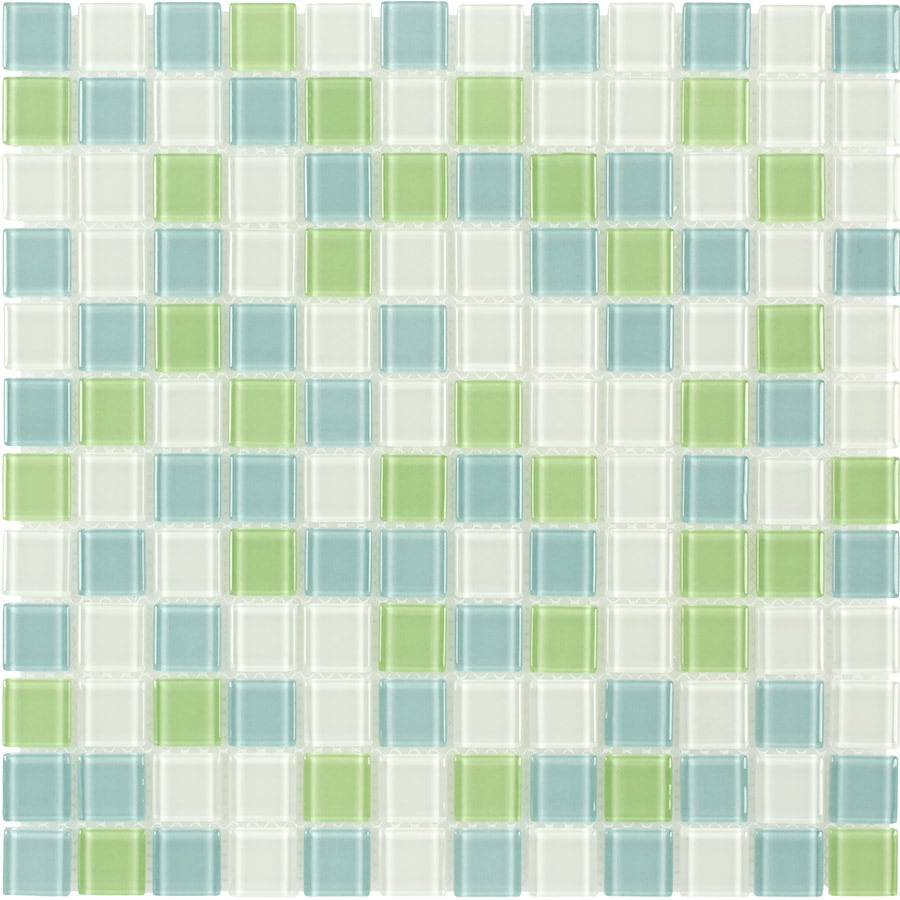 Elida Ceramica Lime Multicolor Uniform Squares Mosaic Glass Wall Tile (Common: 12-in x 12-in; Actual: 11.75-in x 11.75-in)