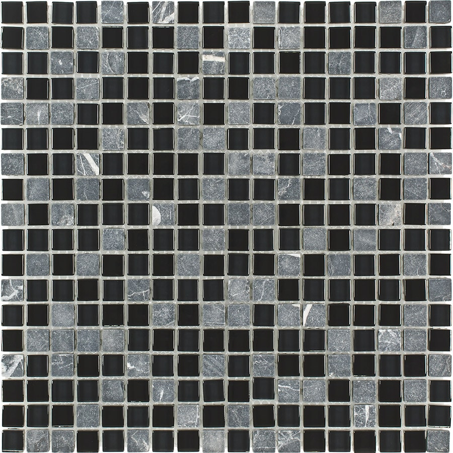 Elida Ceramica Marquina Uniform Squares Mosaic Stone and Glass Marble Wall Tile (Common: 12-in x 12-in; Actual: 11.75-in x 11.75-in)
