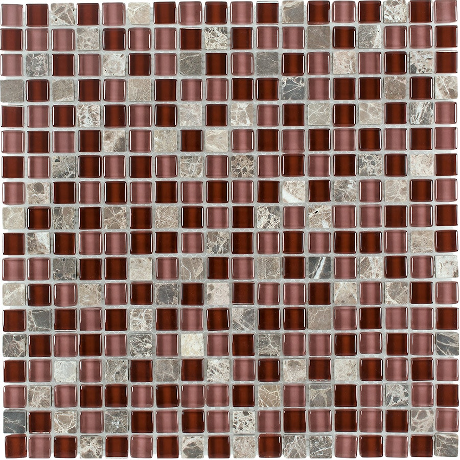 Elida Ceramica Cherry Uniform Squares Mosaic Stone and Glass Marble Wall Tile (Common: 12-in x 12-in; Actual: 11.75-in x 11.75-in)