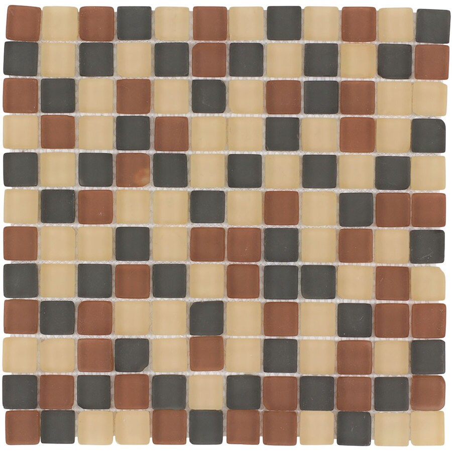 Elida Ceramica Tumbled Kaki Uniform Squares Mosaic Glass Wall Tile (Common: 12-in x 12-in; Actual: 11.75-in x 11.75-in)