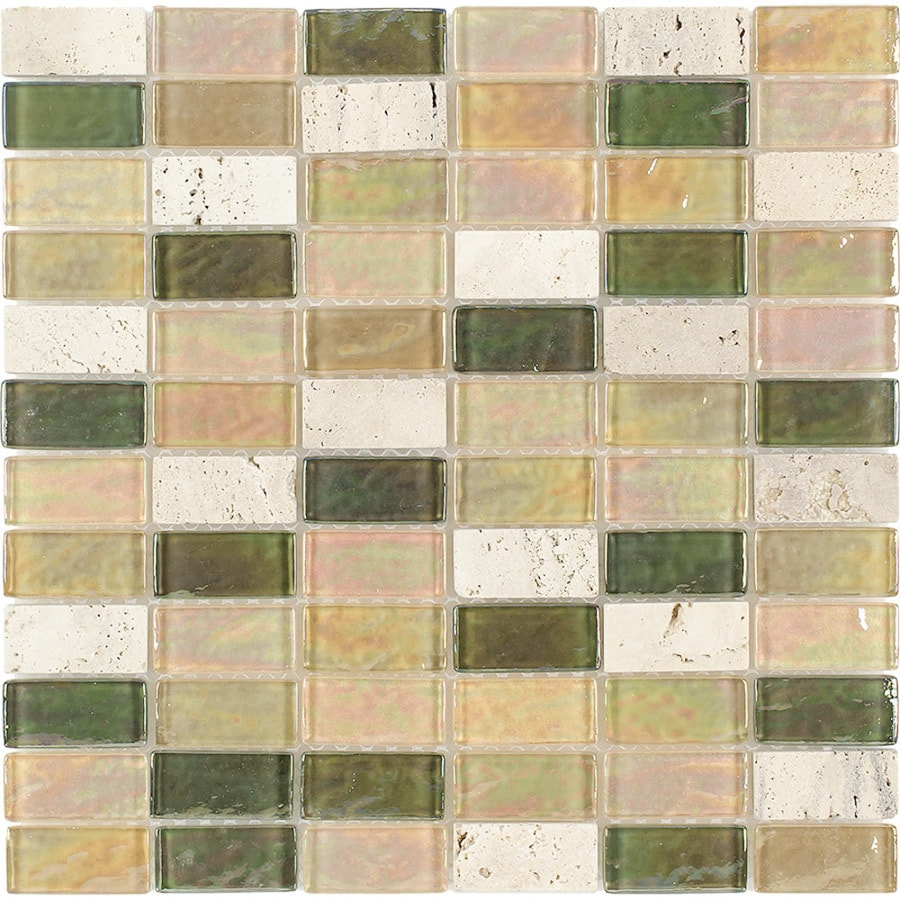 Elida Ceramica Kaki Brick Straight Stack Mosaic Stone and Glass Travertine Wall Tile (Common: 12-in x 12-in; Actual: 11.75-in x 11.75-in)