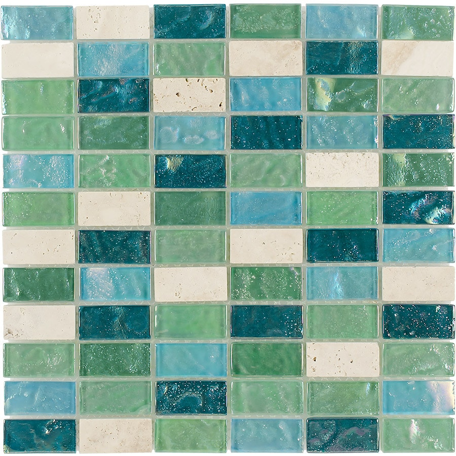 Shop Elida Ceramica Minty Brick Straight Stack Mosaic Stone and ...