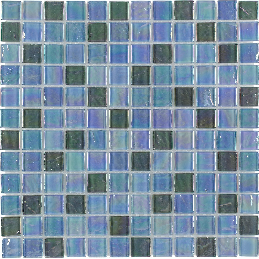 Shop Elida Ceramica Silver Oil Uniform Squares Mosaic Glass Wall ...