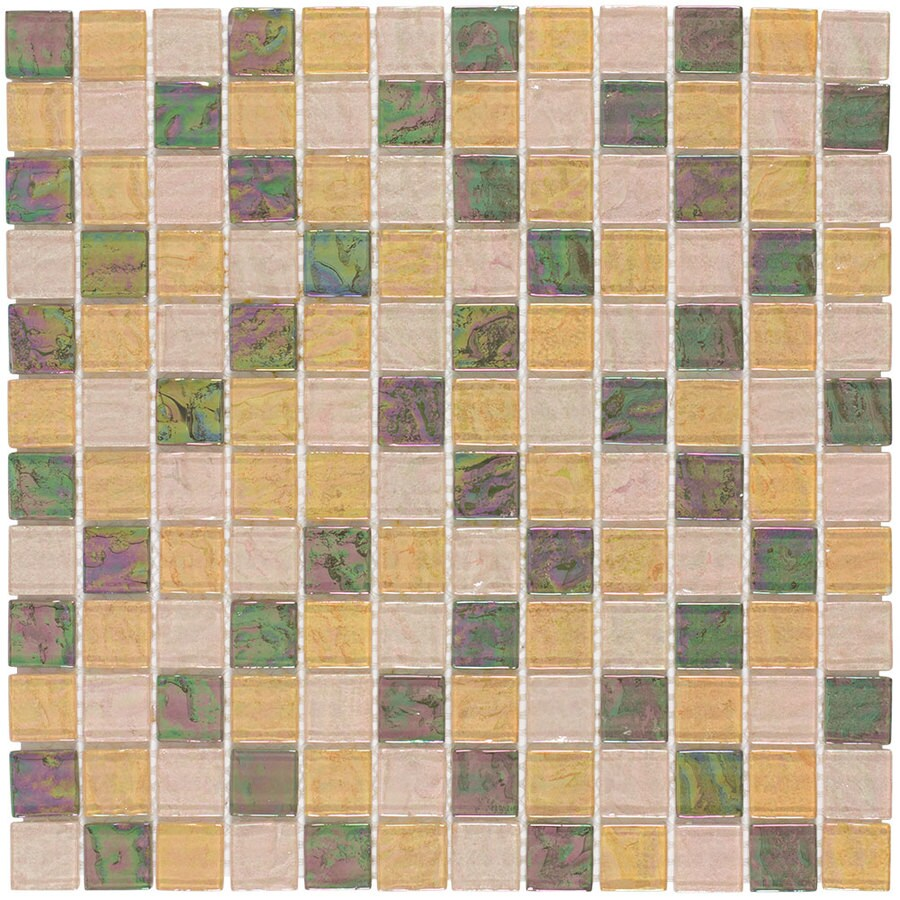 Elida Ceramica Natural Oil Uniform Squares Mosaic Glass Wall Tile (Common: 12-in x 12-in; Actual: 11.75-in x 11.75-in)