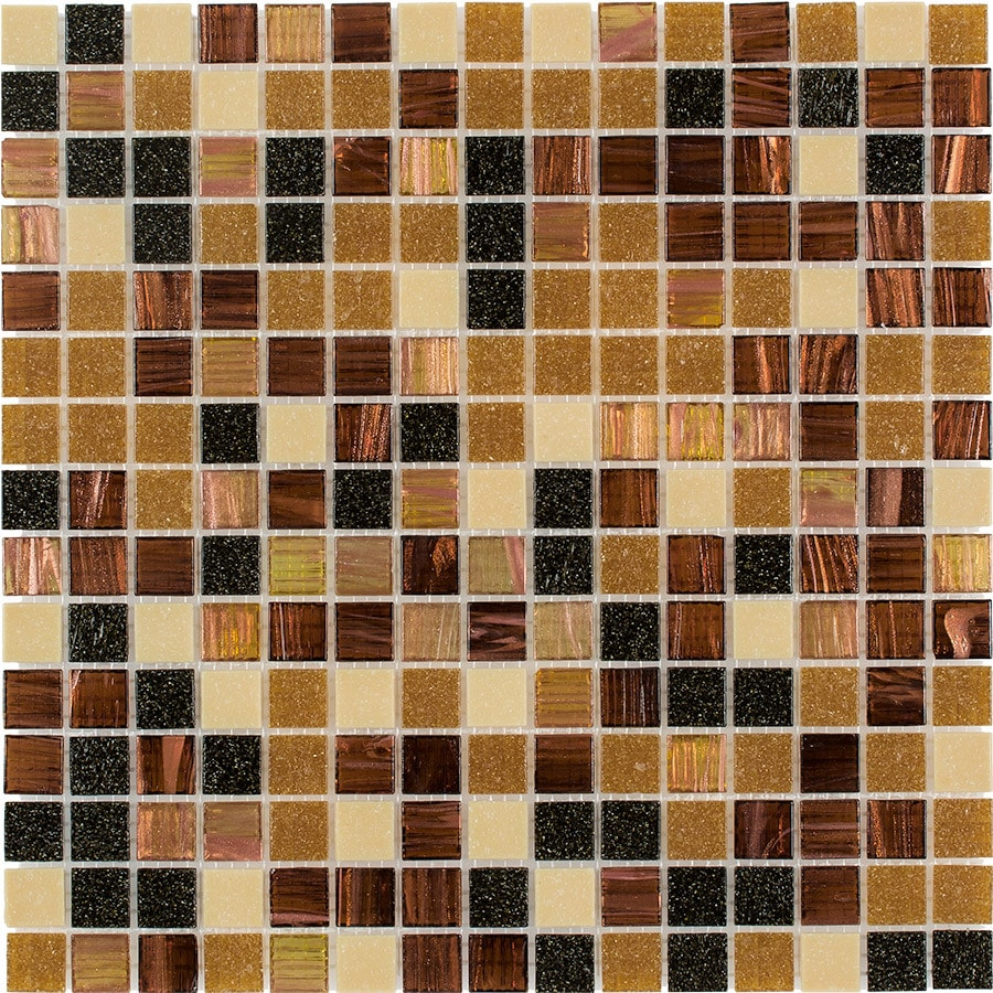 Elida Ceramica Multi Grain Uniform Squares Mosaic Glass Wall Tile (Common: 13-in x 13-in; Actual: 12.75-in x 12.75-in)