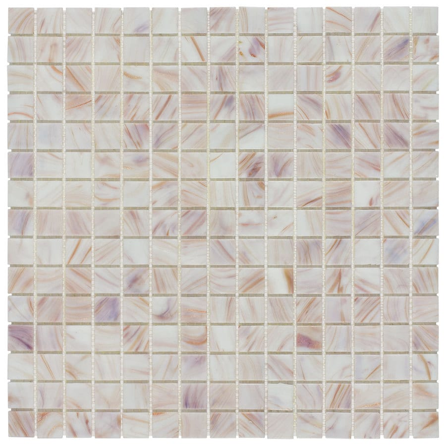 Elida Ceramica White Bronze Uniform Squares Mosaic Glass Wall Tile (Common: 13-in x 13-in; Actual: 12.75-in x 12.75-in)